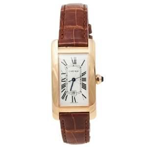 ساعة يد نسائية كارتييه تانك فرانسايز دبليو2620030 ذهب وردي عيار 18 فضية 22.6 مم