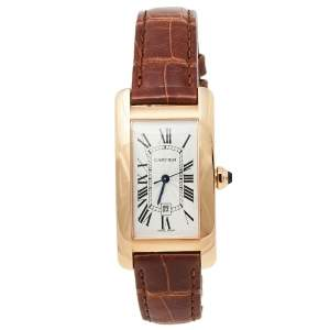Cartier Silver 18K Rose Gold Leather Tank Americaine W2620030 Women's Wristwatch 22.6 mm