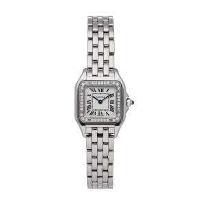 Cartier Silver Diamonds Stainless Steel Panthere W4PN0007 Women's Wristwatch 22 x 30 MM