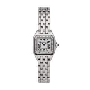 ساعة يد نسائية كارتييه بانثر دبليو4بي أن0007 ستانلس ستيل ألماس فضية 22 × 30 مم