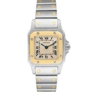 Cartier Silver 18K Yellow Gold And Stainless Steel Santos Galbee W20012C4 Women's Wristwatch 24 x 24 MM