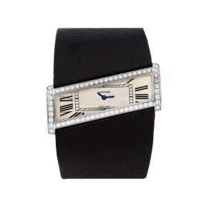 Cartier Silver Diamonds 18K White Gold Diagonale WJ302871 Women's Wristwatch 45 MM