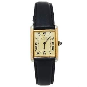 ساعة يد نسائية كارتييه ماست دو كارتييه تانك جلد فضى مطلية ذهب كريمى 23 مم
