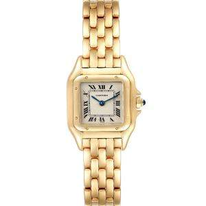 Cartier Silver 18K Yellow Gold Panthere Quartz Women's Wristwatch