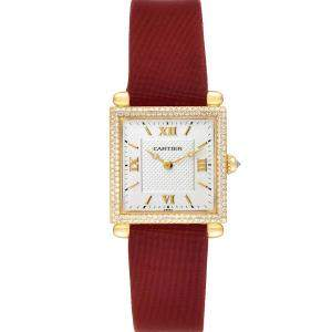Cartier Silver Diamonds 18k Yellow Gold Tank Obus WB800351 Women's Wristwatch 24.5 MM