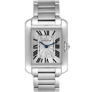 Cartier Silver Stainless Steel Tank Anglaise W5310044 Women's Wristwatch 30 x 22 MM