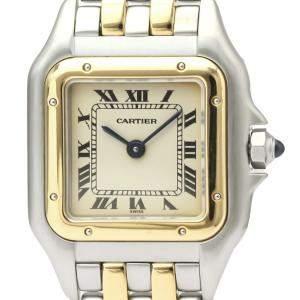 Cartier Silver 18K Yellow Gold And Stainless Steel Panthere De Cartier 166921 Quartz Women's Wristwatch 22 MM