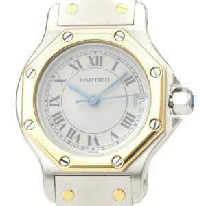 Cartier Silver 18K Yellow Gold And Stainless Steel Santos Octagon 187903 Quartz Women's Wristwatch 24 MM