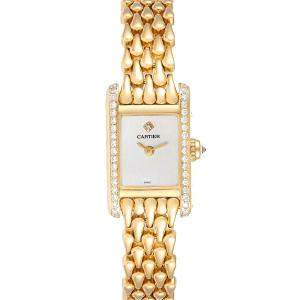Cartier Cream Diamonds 18K Yellow Gold Tank Louis 1360 Women's Wristwatch 15 MM