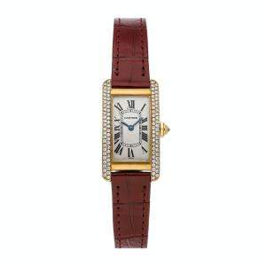 Cartier Silver Diamonds 18K Yellow Gold Tank Americaine WB701251 Women's Wristwatch 28 x 19 MM