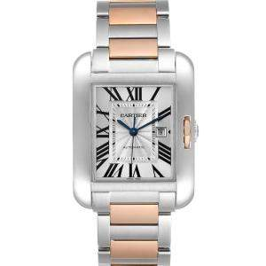 Cartier Silver 18K Rose Gold And Stainless Steel Tank Anglaise W5310007 Men's Wristwatch 39 x 29 MM