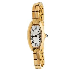 Cartier Silver 18K Yellow Gold Lanières 2563 Women's Wristwatch 16 mm