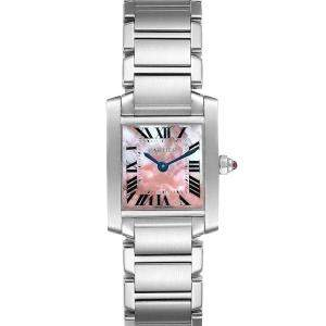 Cartier Pink MOP Stainless Steel Tank Francaise W51028Q3 Quartz Women's Wristwatch 20 MM