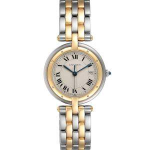 Cartier White 18K Yellow Gold And Stainless Steel Panthere Vendome 183964 Quartz Women's Wristwatch 30 MM