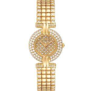 Cartier Champagne Diamonds 18K Yellow Gold Colisee Limited Edition Women's Wristwatch 24 MM