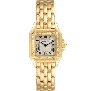 Cartier White Diamonds 18k Yellow Gold Panthere WF3070B9 Women's Wristwatch 22 MM