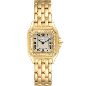 Cartier White Diamonds 18k Yellow Gold Panthere WF3070B9 Women's Wristwatch 22 MM