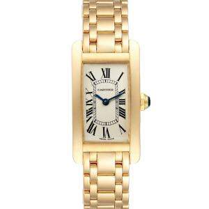 Cartier Silver 18K Yellow Gold Tank Americaine W26015K2 Women's Wristwatch 19 x 35 MM