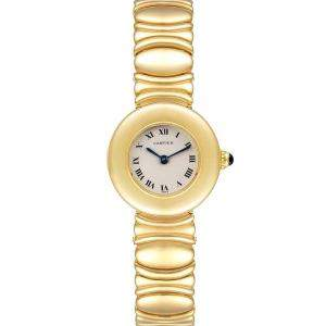 Cartier Silver 18K Yellow Gold Colisee Women's Wristwatch 24 MM