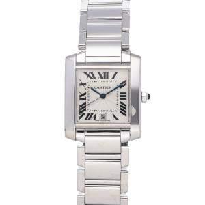 Cartier Silver 18K White Gold Tank Francaise W50011S3 Women's Wristwatch 24 x 28 MM