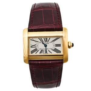 Cartier Silver 18K Yellow Gold Alligator Leather Tank Divan W6300356 Women's Wristwatch 31 mm