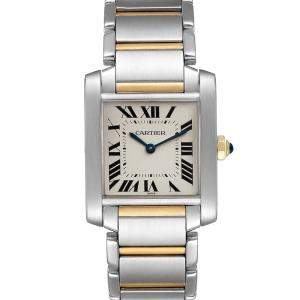 Cartier Silver 18K Yellow Gold And Stainless Steel Tank Francaise W2TA0003 Women's Wristwatch 25 x 30 MM