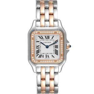 Cartier Silver Diamonds 18K Rose Gold And Stainless Steel Panthere W3PN0007 Women's Wristwatch 27 MM