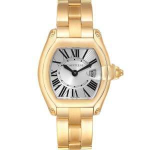 Cartier Silver 18K Yellow Gold Roadster W62018V1 Women's Wristwatch 31 x 37 MM