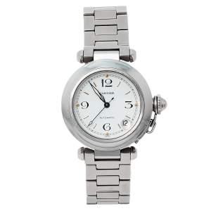Cartier White Stainless Steel Pasha C de Cartier 2324 Automatic Women's Wristwatch 35 MM