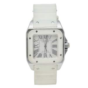 Cartier White Rubber Stainless Steel 2878 Santos 100 Automatic Women's Wristwatch 33 MM
