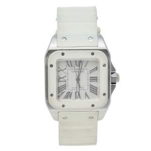 ساعة يد نسائية كارتييه 2878 سانتوس 100 أوتوماتيك ستانلس ستيل مطاط أبيض 33مم