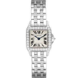 Cartier Silver Diamonds 18K White Gold Santos Demoiselle WF9003YC Women's Wristwatch 24 MM