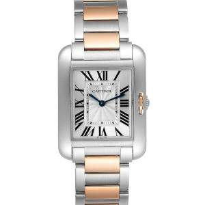 Cartier Silver 18K Rose Gold And Stainless Steel Tank Anglaise W5310043 Women's Wristwatch 34 x 26 MM