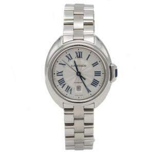 Cartier Silver Cle De Cartier Steel Automatic Ladies Wristwatch 31 MM