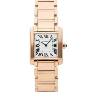 Cartier Silver 18K Rose Gold Tank Francaise WGTA0030 Women's Wristwatch 30 x 25 MM
