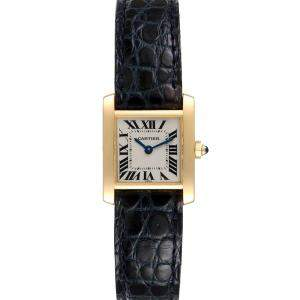 Cartier White 18K Yellow Gold Tank Francaise W5000256 Women's Wristwatch 20 x 25 MM
