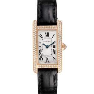 Cartier Silver Diamond 18K Rose Gold Tank Americaine 2503 Women's Wristwatch 19 x 28 MM