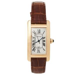 ساعة يد نسائية كارتييه تانك امريكان دبليو2620030 جلد و ذهب وردي عيار 18 فضية 22.6 مم