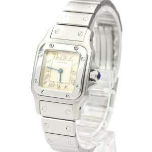 Cartier Silver Stainless Steel Santos Galbee Quartz Women's Wristwatch 24 MM
