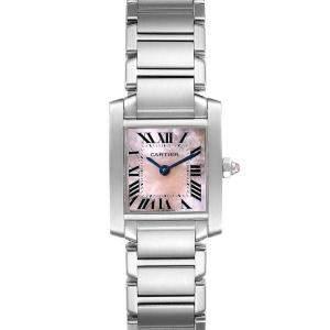 Cartier Pink MOP Stainless Steel Tank Francaise W51028Q3 Women's Wristwatch 20 x 25 MM