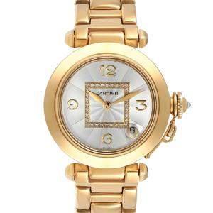 Cartier Silver Diamonds 18K Yellow Gold Pasha GMT WJ1110H9 Women's Wristwatch 35 MM