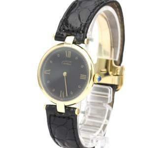 Cartier Black Gold Plated Steel Must Quartz Women's Wristwatch 30 MM