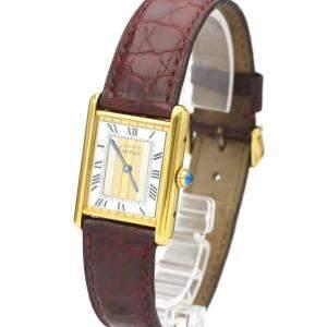 Cartier White Gold Plated Steel Must Tank Quartz Women's Wristwatch 23 MM