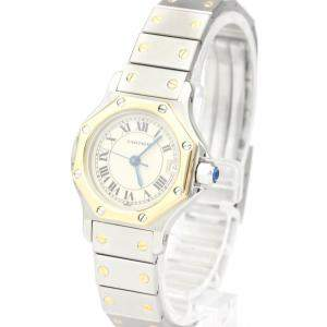 Cartier Silver 18K Yellow Gold And Stainless Steel Santos Octagon Quartz Women's Wristwatch 24 MM