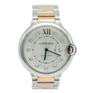Cartier Ballon Bleu Steel & Rose Gold Diamond Silver Dial Ladies Watch 36 MM