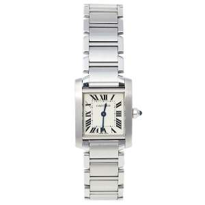 Cartier White Stainless Steel Tank Francaise 2384 Women's Wristwatch 20 mm