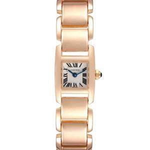 Cartier Silver 18K Rose Gold Tankissime W650018H Women's Wristwatch 25 x 16 MM
