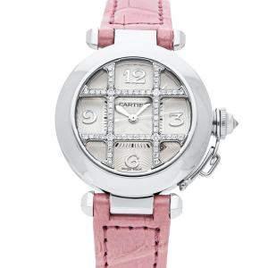 Cartier Silver Diamonds 18K White Gold Pasha WJ111356 Women's Wristwatch 32 MM