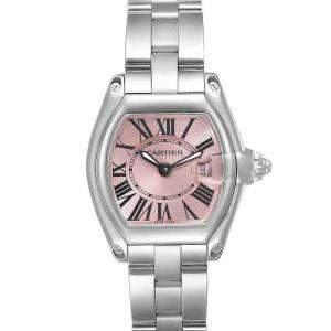 Cartier Pink Stainless Steel Roadster W62017V3 Women's Wristwatch 36 x 30 MM