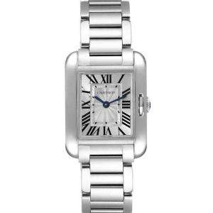 Cartier Silver Stainless Steel Tank Anglaise W5310022 Women's Wristwatch 30 x 22 MM